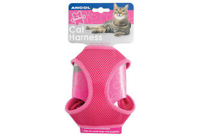 Ancol Cat Harness & Lead Set Comfy Mesh Body Machine Washable Pink Small