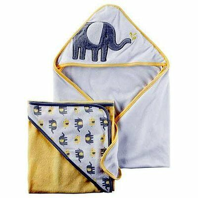 2 Pack - Carter's Unisex Baby Hooded Towels Yellow Gray White Elephant