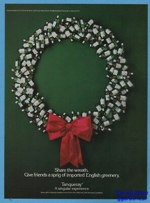 1988 TANQUERAY Gin Share the Wreath English Greenery Christmas Photo Ad
