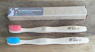 Eco Reuse IT Australia Twin Pack Kids Bamboo Toothbrush Natural Biodegradable