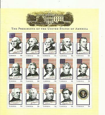 Liberia ~ U.s.a. Presidents Mini Sheets Washington To Clinton (Mnh)