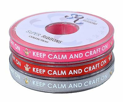 KEEP CALM AND CRAFT ON Grosgrain Ribbon 10mm Full 20 Metre Reel