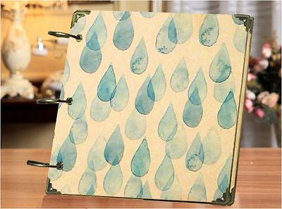 DIY 30 Black Pages 18x18cm RAINING Kraft Cover 3-ring Photo Album Scrapbook