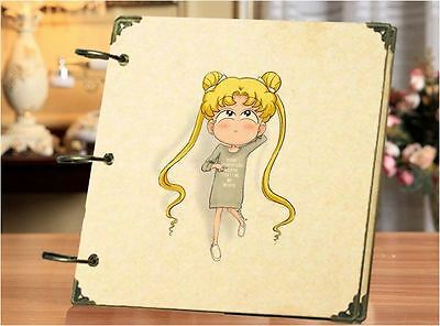 DIY 30 Black Pages 18x18cm SAILOR MOON Kraft Cover 3-ring Photo Album Scrapbook