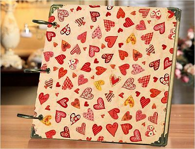 DIY 30 Black Pages 18x18cm RED HEART Kraft Cover 3-ring Photo Album Scrapbook