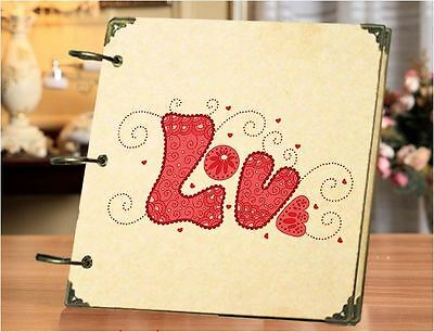 DIY 30 Black Pages 18x18cm RED LOVE Kraft Cover 3-ring Photo Album Scrapbook