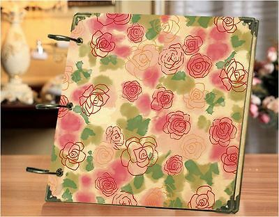 DIY 30 Black Pages 18x18cm ROSE Kraft Cover 3-ring Photo Album Scrapbook