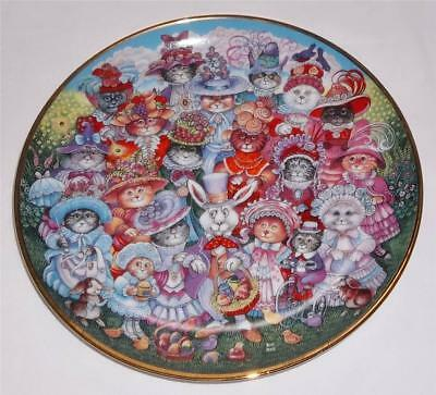 Franklin Mint, Bill Bell Cat Collectible Plate, #HJ1413, Limited, Easter Purrade