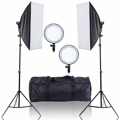 Adjustable Bright LED Softbox Continuous Lighting Studio w/ 2 Stand Carrying Bag