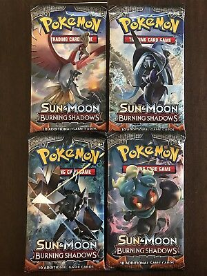 4 x Burning Shadows Booster Pack + 1 x Random Pack – New & Sealed – Pokemon TCG