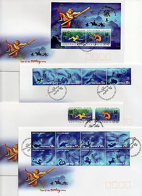 4 different mint items from same series: 2004 Year of the Monkey FDCs