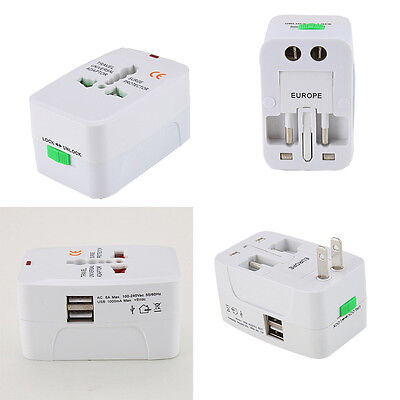Adaptador de Viaje Internacional World Wide Doble Port Enchufe Plug Adapter