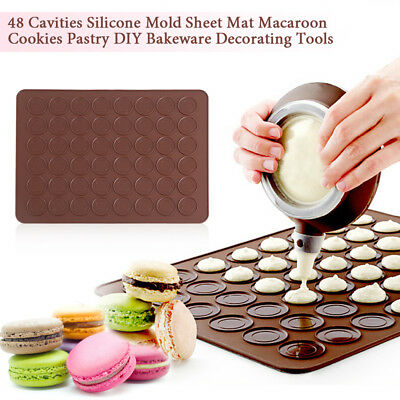 48 Cavity Silicone Pastry Cake Macaron Macaroon Oven Baking Mould Sheet Mat ZY