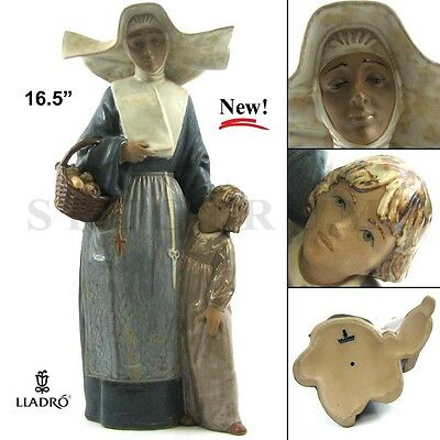 """NEW RARE Large Limited Edition Retired Lladro 01012112 """"Charity"""" Nun with Child"""