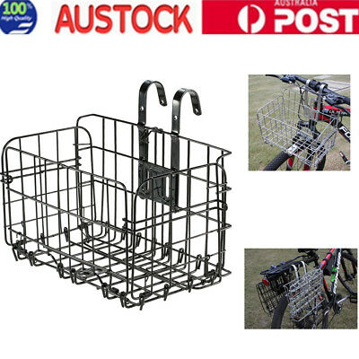 Foldable Steel Bicycle Basket Fixed On Handlebar Tube Seat Rack Strong