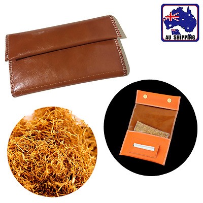 Cigarette Tobacco Pouch Bag Case Roller Rolling Paper PU Brown Filter CPUR72409