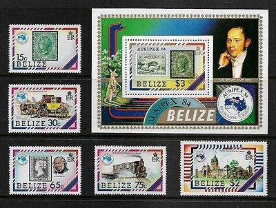 BELIZE - 1984 Ausipex 84, mint mini sheet & set of 5, MNH MUH