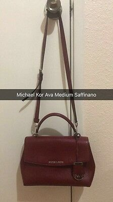 MICHAEL KORS AVA Medium Top Handle Saffiano Leather Satchel handbag in  Merlot ab286372ffe55