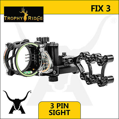 Trophy Ridge - Fix 3 Pin Bow Sight - Left or Right Handed - Tool-less - Archery