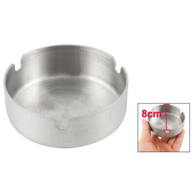 8cm Strong Stainless Steel Home Metal Ashtray Cigarette Ash Holder Round Silver