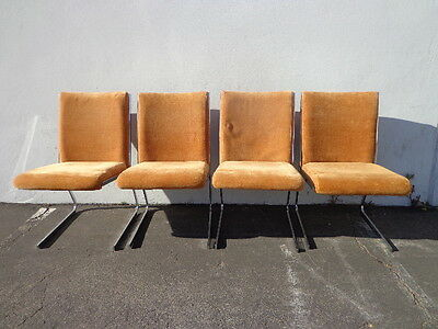 Chairs Mid Century Modern MCM Milo Baughman Style Dining Chairs Chrome Metal