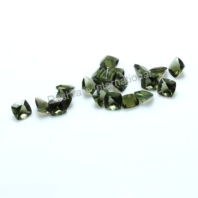 6mm To 12mm Natural Moldavite Faceted Cushion Calibrated Size Loose Gemstones