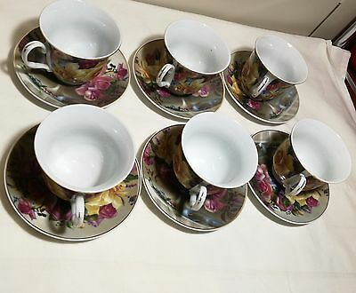 Jason collection Porcelain Coffee Tea Cup And Saucer Plate 6 Sets Brand New