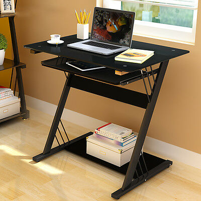 Computer Desk Table Home Office Furniture Black Glass Sliding Keyboard Shelf Uk