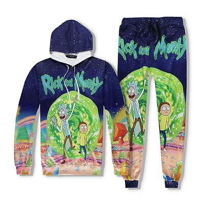 Fashion Women Men Rick and Morty 3D Cartoon Graphic Casual Sweater Hoodie Pants