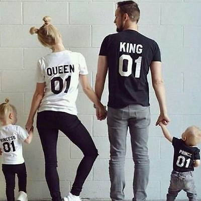 King And Queen T Shirt Unisex Womens Crown Logo Romantic Couple Top Tee T-Shirt
