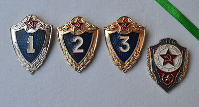 Excellent Soviet army pins Lot of 4 USSR Badge Soldier military skill Class VTG