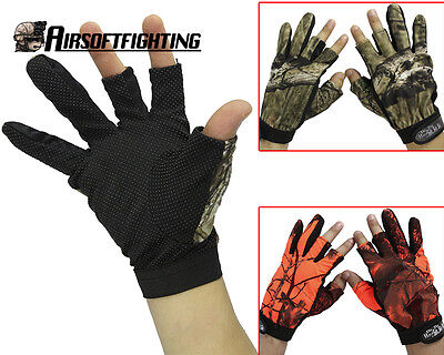 1 Pair Anti-Slip 3 Finger Cut Fishing Gloves Protector Camouflage Hunting Gloves