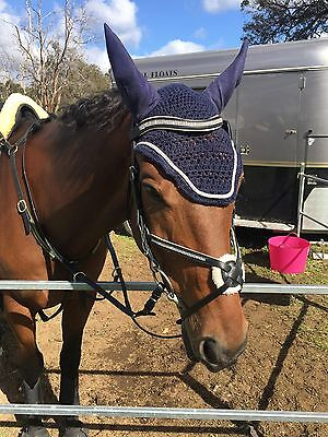 Grackle show jumping black silver bridle cob full free postage