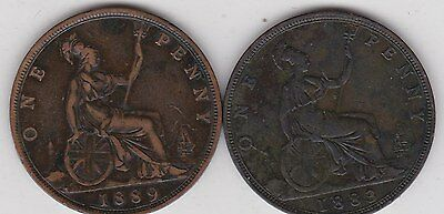 1883 & 1889 Victorian Bun Pennies In Good Fine Condition