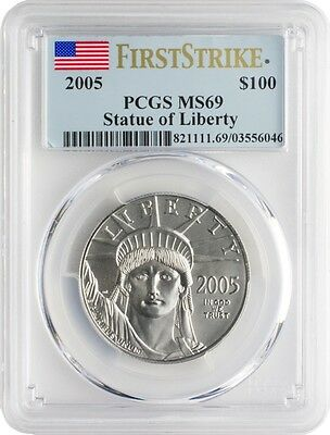 2005 Platinum Eagle Pcgs Ms69 $100 First Strike Statue Of Liberty