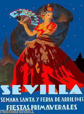 1943 Sevilla Seville Spain Europe European Vintage Travel Advertisement Poster