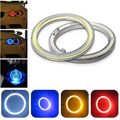 Best New White COB LED Angel Eyes Headlight Halo Ring Warning Lamps With Cover