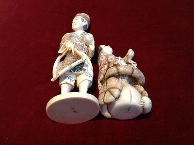 Antique Chinese/Japanese ivory Colour figures