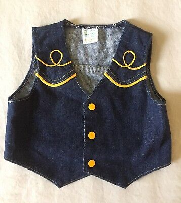 Vintage JCPenney Toddle Time Toddler Denim Vest 2T Country Western