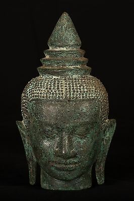 19th Century Antique Khmer Bronze Buddha Head Statue - 32cm/13""
