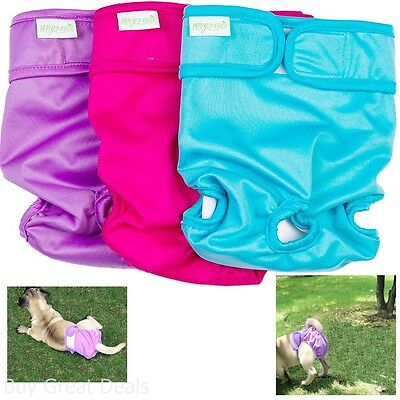 Premium Large Dog Diapers Female Durable Reusable Dogs Diaper for Pets 3Pk New