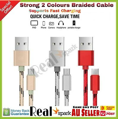 1M 2M Braided Micro USB Fast Charger Cable Cord For Android Samsung HTC LG SONY