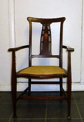 Edwardian Art Nouveau Arts and Craft Mahogany Dining-Side-Hall-Arm Chair