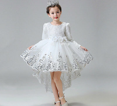 Kids Princess Party Gown Flower Girl Lace Dress Formal Wedding Bridesmaid Prom