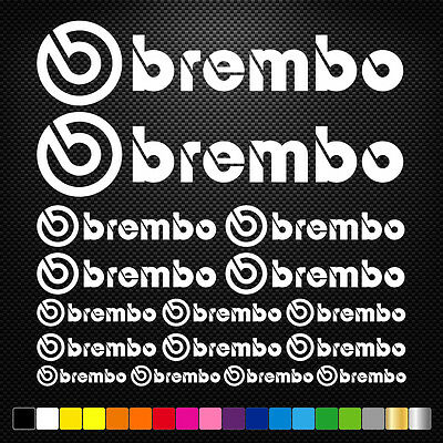 16x BREMBO Vinyl Decal Stickers Sheet Motorcycle Sponsors Auto Tuning Quality