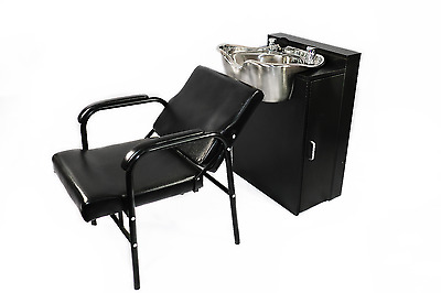 Round Polished Stainless Steel Shampoo Bowl Custom Cabinet and Chair 1368-FC-216