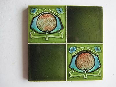 Antique Art Nouveau H Richards Wall Tile - Quartered Design C1907