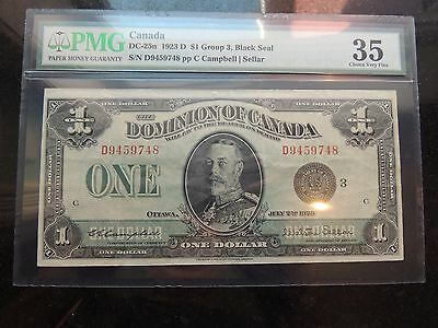1923 DOMINION OF CANADA $ 1 ONE DOLLAR DC-25n PMG CERTIFIED VF-35 CHOICE VF