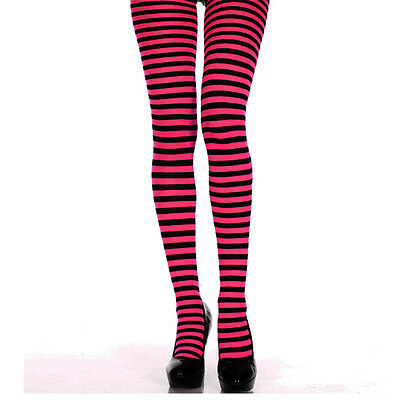 Pantis Rayas Estrechas Negras Rosa . black pink striped tights pin up punk gothi