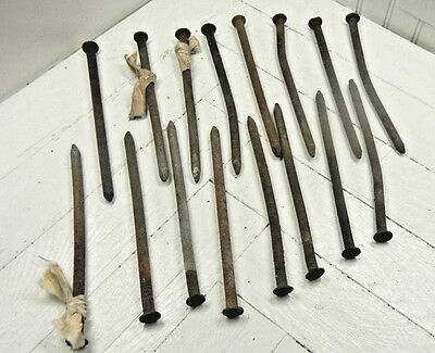 Lot of Long Round Rusty Vintage Antique Metal Spike Nails Smooth Steampunk Barn